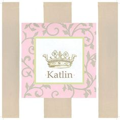 Pink Scroll Personalized Crown Wall Art