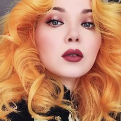 """""""#TBT Marygold hair earlier this year! On my lips: #Riot Velvetine, eyes: #Venus Palette by @limecrimemakeup."""""""