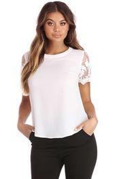 White Sleeve Lace Basic Blouse