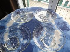 Sunburst Snack Set Indiana Glass Luncheon 8 Pieces