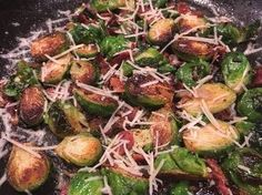 Bacon Parmesan Brussels Sprouts!  These tasty little cabbages are pan roasted in smoky, savory Bacon and onion flavor and then topped with shredded parmesan. The dish is so delicious and so simple to prepare. If your family needs a recipe to introduce this healthy veggie, this could be the one that has them changing their mind about the color green.
