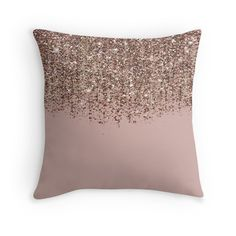 'Blush Pink Rose Gold Bronze Cascading Glitter' Throw Pillow by Christyne Gold Pillows, Diy Pillows, Floor Pillows, Decorative Throw Pillows, Pillow Ideas, Blush Bedroom Decor, Gold Bedroom, Room Decor Bedroom, Glitter Floor