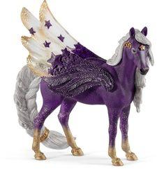 Buy the Schleich Star Pegasus Mare figure at MiniZoo. A model pegasus from Australia's online figurine store. Pegasus, My Little Pony, Figurine Schleich, Dc Comics, Imagination Toys, Adrien Y Marinette, Starry Night Sky, Breyer Horses, Rainbow Unicorn