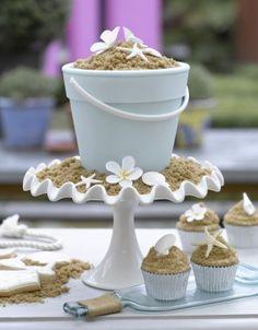 Ocean theme cupcake wedding cake