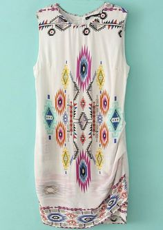 White Sleeveless Geometric Print Pleated Dress