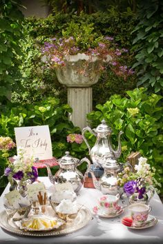 Use silver coffee (I know, it's a tea party! But . . .) and tea service - separate table? Vintage Garden Parties, Party Garden, Garden Tea Parties, Garden Wedding, Teas, Wedding Reception Food, Wedding Ideas, Wedding Table, Wedding Planning