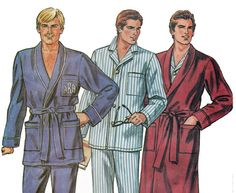 Mens Classic Belted Robe & Pyjamas Pajama Top and Bottoms Sewing Pattern and by TheOldLeaf, $5.49 #MensLoungewear #MensPajamas