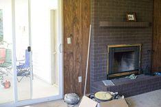 Fireplace Makeover • Le Bois Home Reface Brick Fireplace, Brick Fireplace Remodel, Fireplace Update, Brick Fireplace Makeover, Home Fireplace, Fireplace Surrounds, Fireplaces, Fireplace Ideas, Fireplace Mantels