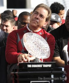 """""""Hmmm... I wonder what the new College Football Playoff trophy will look like and how many of them I can amass."""" Roll Tide Roll!  ~  Check this out too RollTideWarEagle.com ~ sports stories that inform and entertain, plus #collegefootball rules tutorial. Check out our blog and let us know what you think. #RTR #RollTide"""