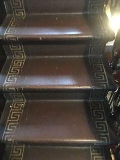 Victorian stair linoleum with Greek key detail at Linley Sambourne's house in Kensington Victorian Stairs, Victorian Homes, Greek Key, Old Buildings, Restoration, Interior Design, Detail, Antiques, House