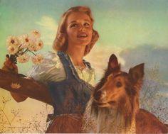 vintage dog pictures | Vintage Woman Collie Dog Color Lithograph Print - Calendar Top ...