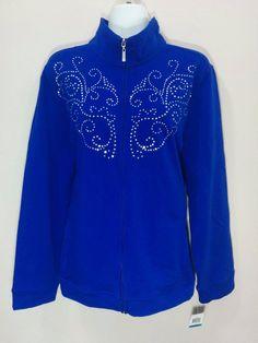 "JM Collection ""Core"" blue rhinestone full zipper cardigan sweater, XL, #1782 #JMCollection #FullZip"