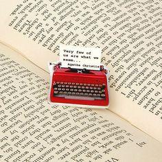 Agatha Christie quote typewriter pin