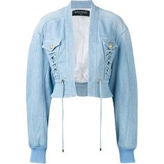 Balmain Cropped Denim Bomber (10.865 DKK) ❤ liked on Polyvore featuring outerwear, jackets, long jacket, style bomber jacket, bomber jacket, long denim jacket and cropped bomber jacket
