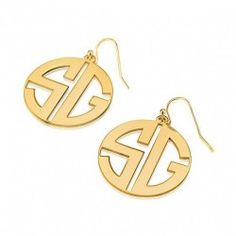 24k Gold Plated Capital Border 2 Letters Monogram Earrings
