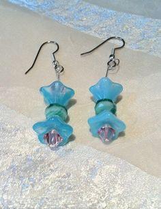 Retro Morning Glory Earrings Handmade by NorthCoastCottage, $19.00 #handmade #jewelry #etsy