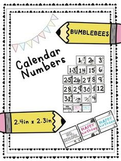 Bee Calendar Numbers will go perfect with your buggy classroom! They can be used for your calendar or use the numbers for your classroom numbers! They match perfectly with my 'Bumble Bee Labels'.