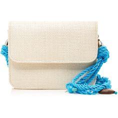 Glorinha Paranagua Clarissa Sintetic Straw Bag (835 BAM) ❤ liked on Polyvore featuring bags, handbags, shoulder bags, blue, shoulder strap bags, pink purse, woven handbags, pink shoulder bag and blue shoulder bag