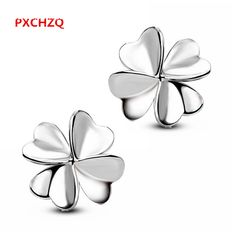 PXCHZQ Ms. Aestheticism upscale Fashion jewelry silver stud earrings Lucky Clover flower earrings minimalist and lovely