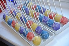 The Wiggles coloured cake pops