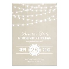 IN any color you want Chic modern summer wedding Save the Date announcement design with simple elegant glowing string lights hanging across the top and a classy mix of modern and calligraphy script fonts on a printed faux watercolor texture background. A simple and stylish preppy design, perfect for summer! Click the CUSTOMIZE IT button to customize fonts, move text around and create your own unique one-of-a-kind invitation design.
