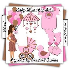 Baby shower clip art girl collection includes 8 images. A pregnant mommy, a set of balloons, a baby mobile, a stroller, a onsie, a pair of socks, a double heart, and a rubber ducky. This collection was created with shades of light pink and brown with a cupcake to decorate the baby items, making it great for your little girl.