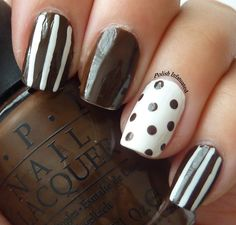 Stripes and polka dots in brown and white. Nail Art Diy, Diy Nails, Elegant Nail Art, Chocolate Party, Striped Nails, Mani Pedi, All Things Beauty, Cosmetology, One Color