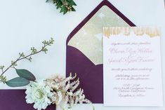 A muted pastel wedding inspiration shoot with Claire Pettibone wedding dresses and a unique color palette. Gold Wedding Invitations, Invites, Blog Design, Design Ideas, Purple And Gold Wedding, Unique Colors, Paper Goods, Pastels, Stationary