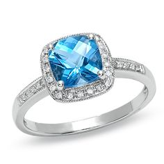 Absolutely love love love this ring!! **Dream Ring!** Cushion-Cut Blue Topaz and Diamond Accent Ring in 14K White Gold - Zales