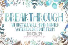 Breakthrough Watercolor Font - Fonts - 4 @creativemarket #affiliatelink