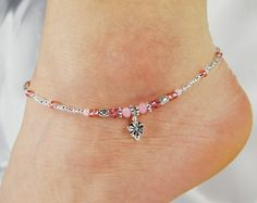 Anklet, Ankle Bracelet Flower Charm, Rose Pink, Vacation, Beach, Cruise Beaded Anklet Minimalist Anklet Pink Anklet Flower Jewelry Delicate