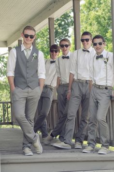 Love the shoes. Like the bow ties and suspenders for the groomsmen, vest for the groom