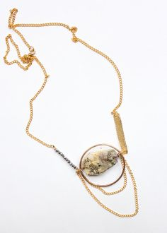 pyrite quartz chunky raw stone necklace by nearlylost on Etsy, $80.00