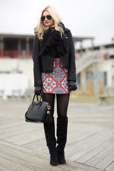motel rocks a line skirt - topshop black motorcycle jacket - isabel marant black prescott boots - www.basicallyblonde.com