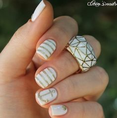 Gold, white anchor nails