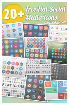 Flat Social Media Icons: http://www.twelveskip.com/resources/icons/982/quality-sets-of-flat-social-media-icons