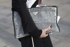 BIG black & white PRADA clutch matched perfectly with black nails, and black & white outfit…
