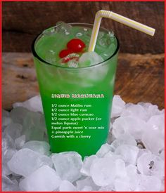 Liquid Marijuana - Malibu rum, light rum, blue curacao, apple pucker (or melon liqueur), sweet 'n sour mix and pineapple juice