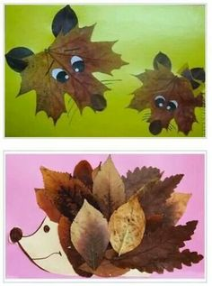 Collages of dried leaves creative ideas for the .- Collagen aus getrockneten Blättern kreative Ideen zum Selbermachen Collages of dried leaves creative ideas to make your own - Kids Crafts, Leaf Crafts, Fall Crafts For Kids, Thanksgiving Crafts, Toddler Crafts, Preschool Crafts, Art For Kids, Craft Projects, Arts And Crafts