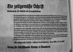 Anuncio en dos idiomas para plumas de escritura formal para la revista caligráfica Dise Zeitgemäße Schrift (La letra adecuada al tiempo), Verlag fúr Schriftkunde Heintze & Banckertz, Berlín) 1937 aprox. | La letra gótica.