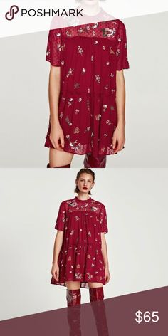 8276678e1048 Zara Burgundy Embroidered Dress In perfect condition and never worn. A  beautiful and unique dress