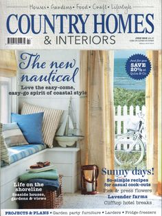 Our Serenity fabric in Ticking Stripe 'Mint' features on the front cover of the July issue of Country Homes & Interiors