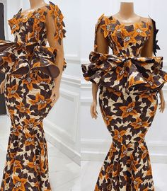 Ankara Long Gown Styles, Trendy Ankara Styles, Ankara Skirt And Blouse, Blouse Styles, Mix Match, Wrap Dress, Parties, Style Inspiration, Gowns