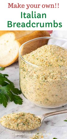 Homemade Italian Bread Crumbs are easy to make from scratch in just a few minutes!! So much better than store bought and at a fraction of the price plus there are no preservatives or unwanted ingredients!! #marcellinaincucina #italianbreadcrumbs #homemadebreadcrumbs Yummy Recipes, Yummy Food, Chicken Cutlets, Whole Grain Bread, Italian Seasoning, How To Dry Oregano, Bread Crumbs, Recipe Using