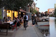 Towpath cafe on Regents canal in London. Only open in summer. Sit canal side and have delicious, simple food.
