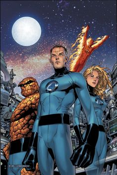 Fantastic Four: The Thing (Ben Grimm) - Mr Fantastic (Reed Richards) - The Torch (Johnny Storm) - Invisible Girl (Sue Richards (Storm)) - Marvel Comics Comic Book Characters, Marvel Characters, Comic Character, Comic Books Art, Comic Art, Fictional Characters, Stan Lee, Fantastic Four Marvel, Mister Fantastic