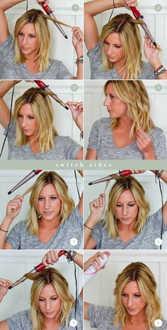 When using a curling wand, turning it upside-down allows you to start curling your roots on the larger end of the wand.