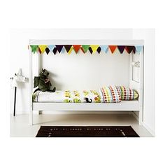 ÖVRE Bed with slatted base and canopy, white - white - IKEA