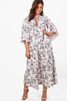 c5290028913b Boohoo Plus April Floral Print Maxi Dress Ivory Size UK 18 rrp 25 DH170 GG  05