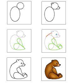 6 minis tutoriels photo pour apprendre dessiner des oursons kids activities pinterest - Comment dessiner des animaux ...